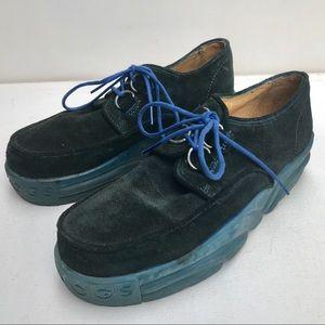90s John FLUEVOG Shoes blue men 6 oxford suede